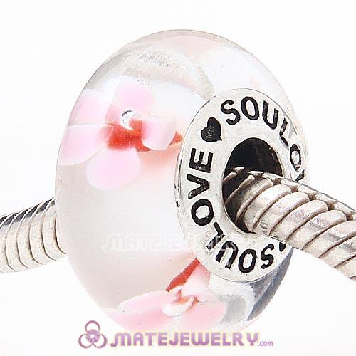 High Grade SOULOVE Flower Glass Beads 925 Silver Core with Screw Thread