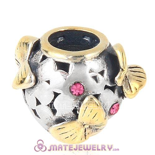 European style Sterling Silver Gold plated Butterfly Charm Bead with Rose Austrian Crystal