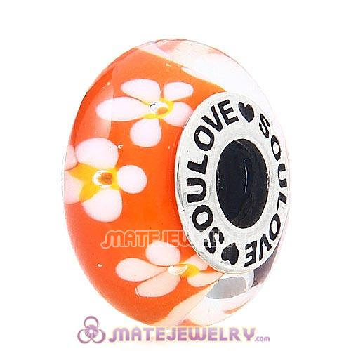 High Grade SOULOVE Flowers Glass Beads 925 Silver Core with Screw Thread