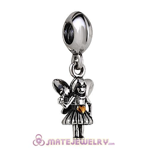 18k Gold Plated Heart 925 Sterling Silver Angel of Love with Wings Dangle Charms for Bracelet