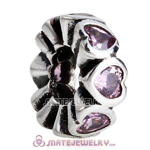 European Style Sterling Silver Space in My Heart Beads with Pink CZ Stone