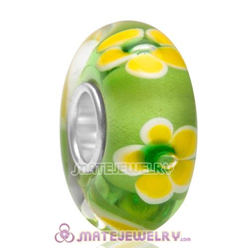 Top Class European Rural Style Flower Glass Bead with 925 Silver Core