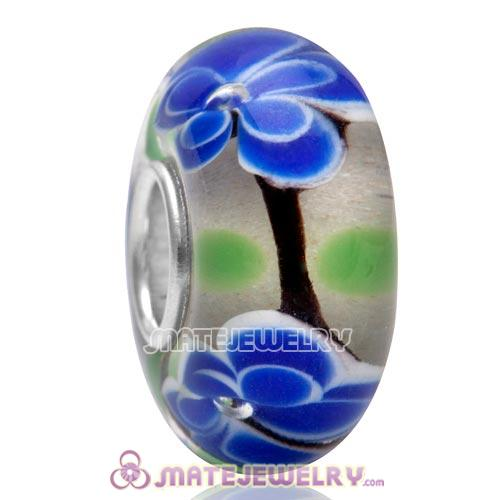 High Quality European Style 925 Silver Core Blue Big Flower Glass Beads for Jewelry