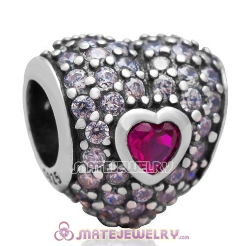 S925 Sterling Silver In My Heart Charm Bead with Fuchsia Stone