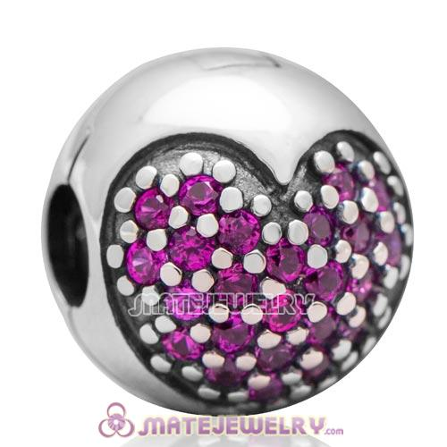 S925 Authentic Sterling Silver Love Of My Life Clip Charm Beads with Fuchsia CZ Stone