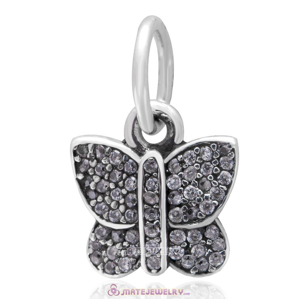 Sterling Silver Sparkling CZ Stone Butterfly Dangle Bead Charms