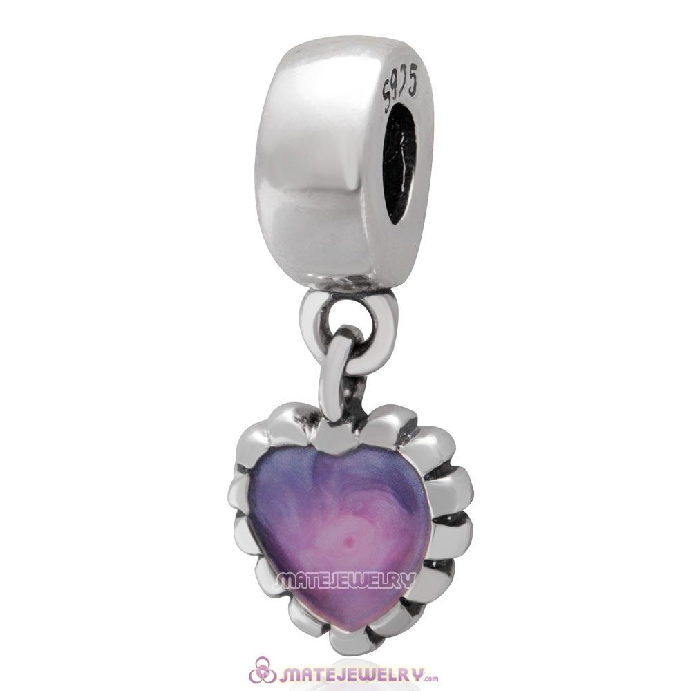 Sterling Silver Enamel Heart Dangle Charm Bead
