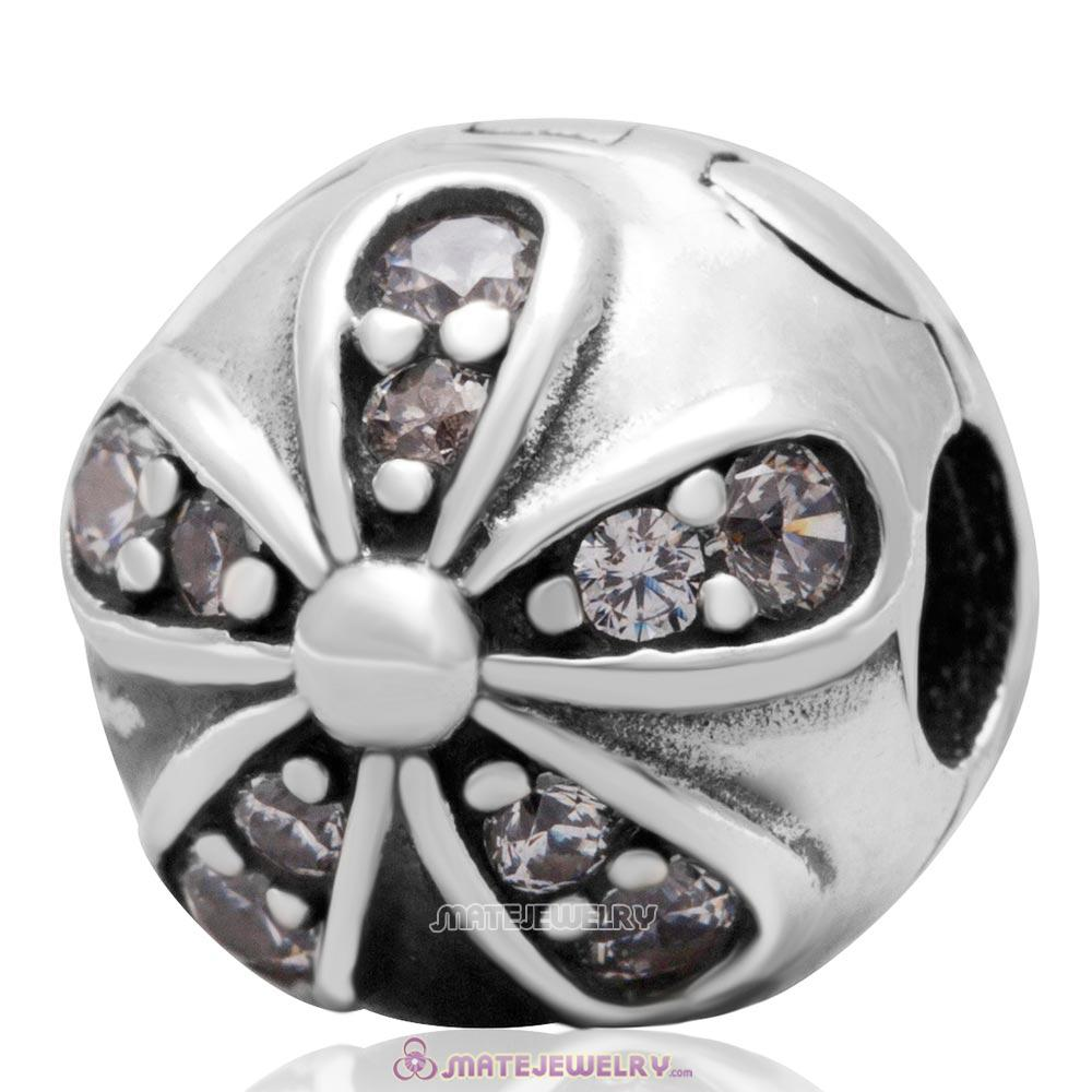 Sterling Silver Dazzling Daisies with Clear CZ Clip Charm Bead