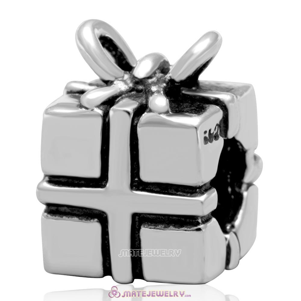 Wholesale Antique Sterling Silver Christmas Present Box Charm Bead
