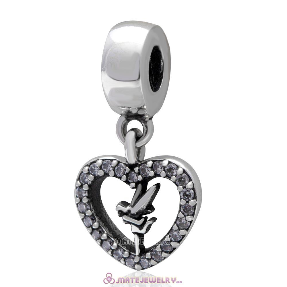 Love Tinker Bell Sterling Silver Dangle Heart Charm with Clear CZ