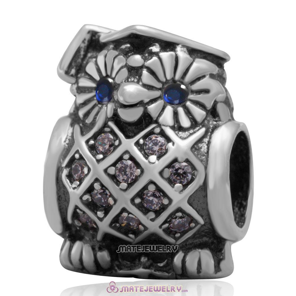 Sterling Silver Graduate Owl Charm Bead with Clear CZ and Blue Eye