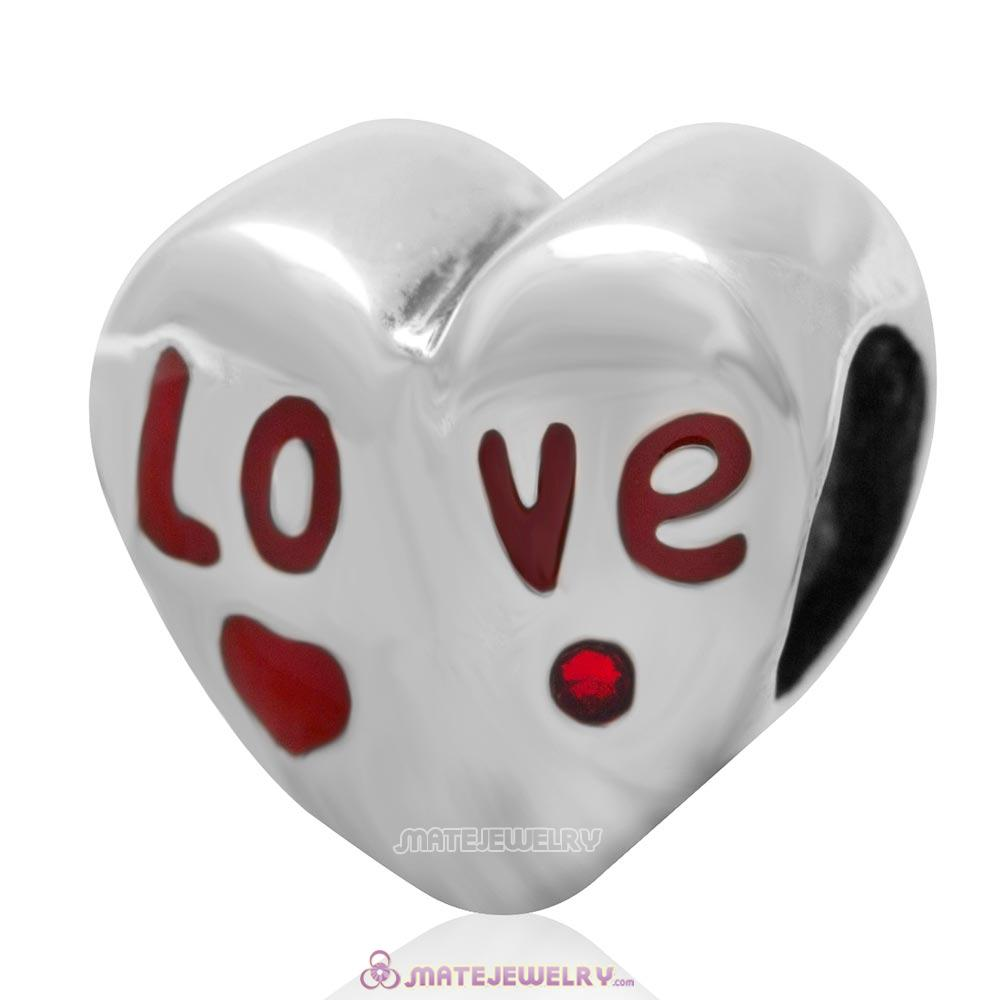 Love Charm 925 Sterling Silver Enamel Heart Bead with Light Siam Australian Crystal