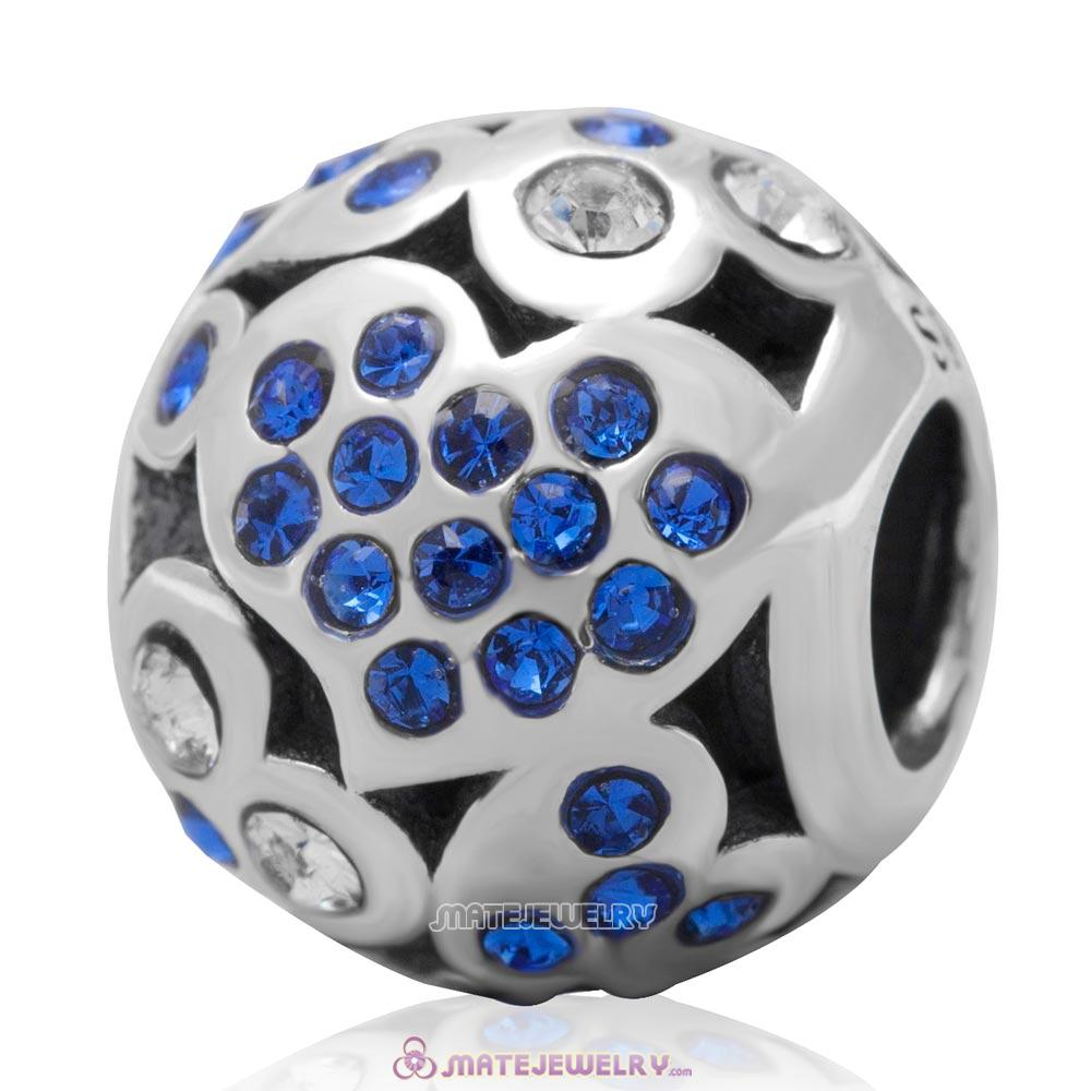 Sterling Silver Love Heart Charm Bead with Pave Sapphire Australian Crystal