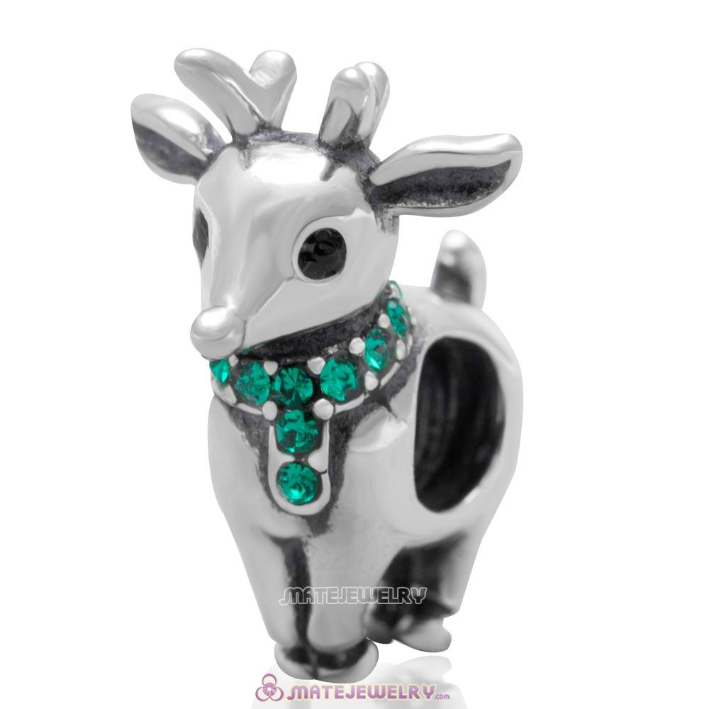 Christmas Reindeer Charm Antique Sterling Silver Bead with Emerald Australian Crystal