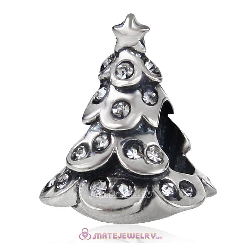 Christmas Tree Charm 925 Sterling Silver Beads with Bling Clear Australian Crystal