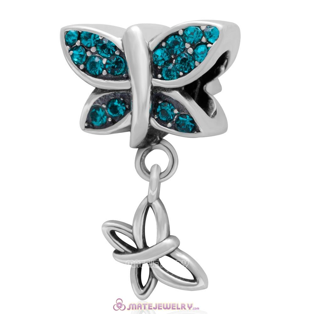 European Style Butterfly Dangling Bead 925 Sterling Silver with Pave Blue Zircon Australian Crystal