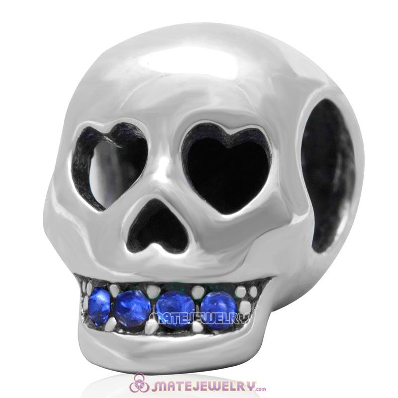 Love You To Death Skull Bead Antique Sterling Silver with Sapphire Australian Crystal