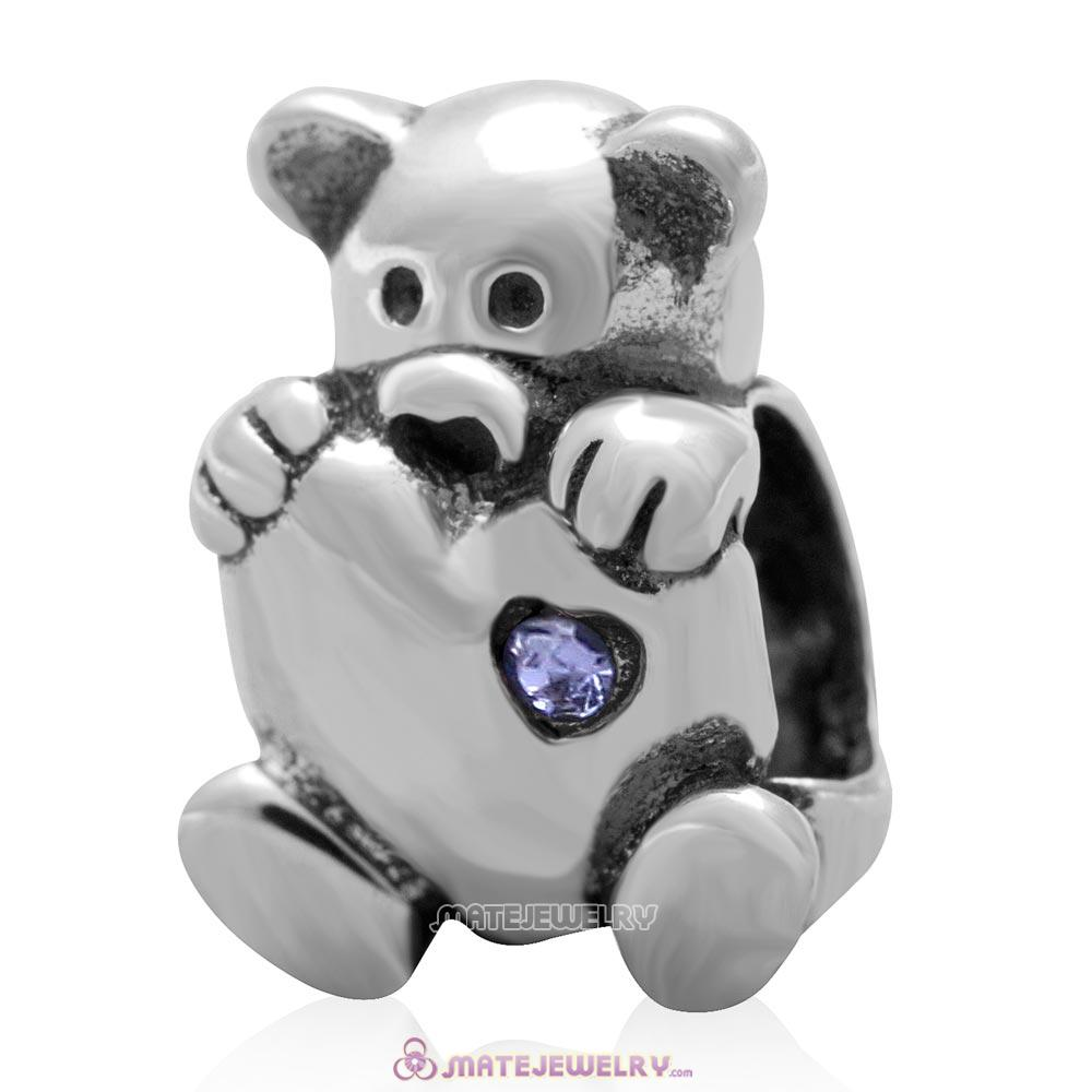 Bear Hug Heart Charm 925 Sterling Silver with Tanzanite Australian Crystal