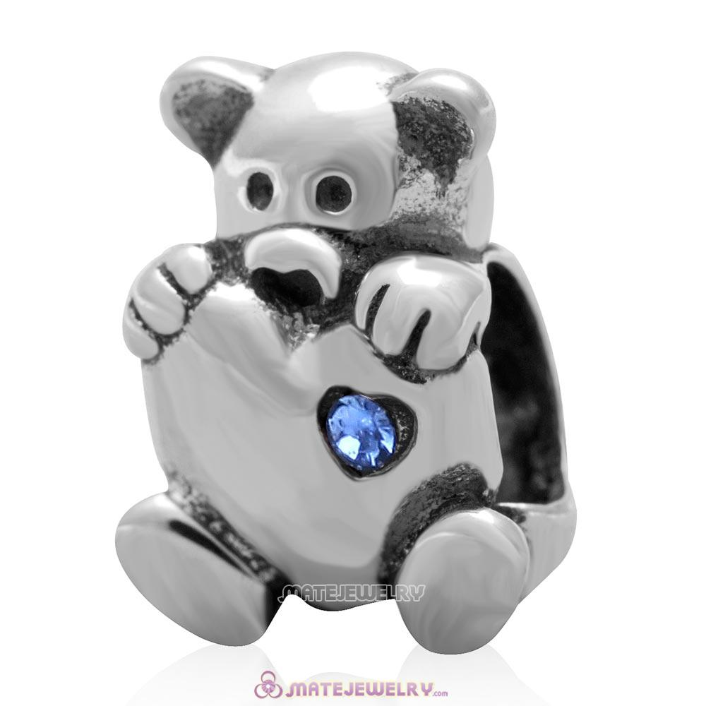 Bear Hug Heart Charm 925 Sterling Silver with Sapphire Australian Crystal