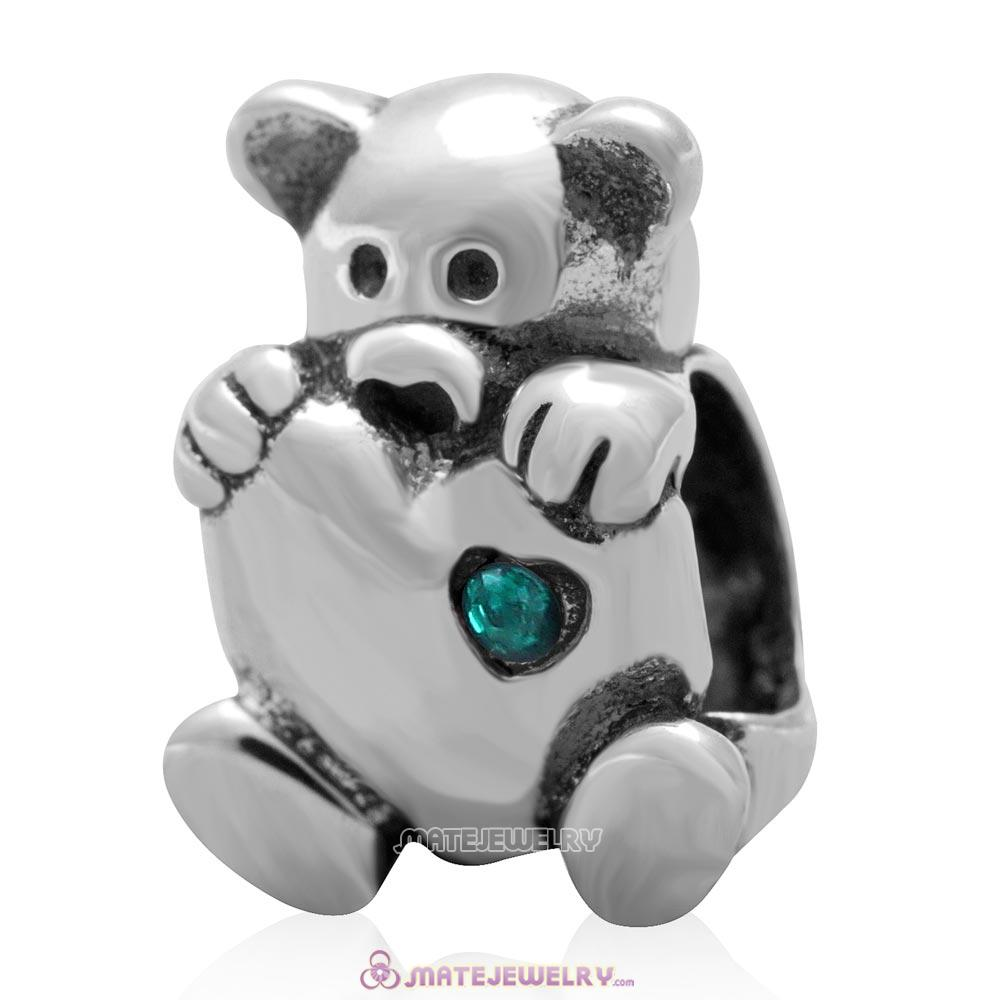 Bear Hug Heart Charm 925 Sterling Silver with Emerald Australian Crystal