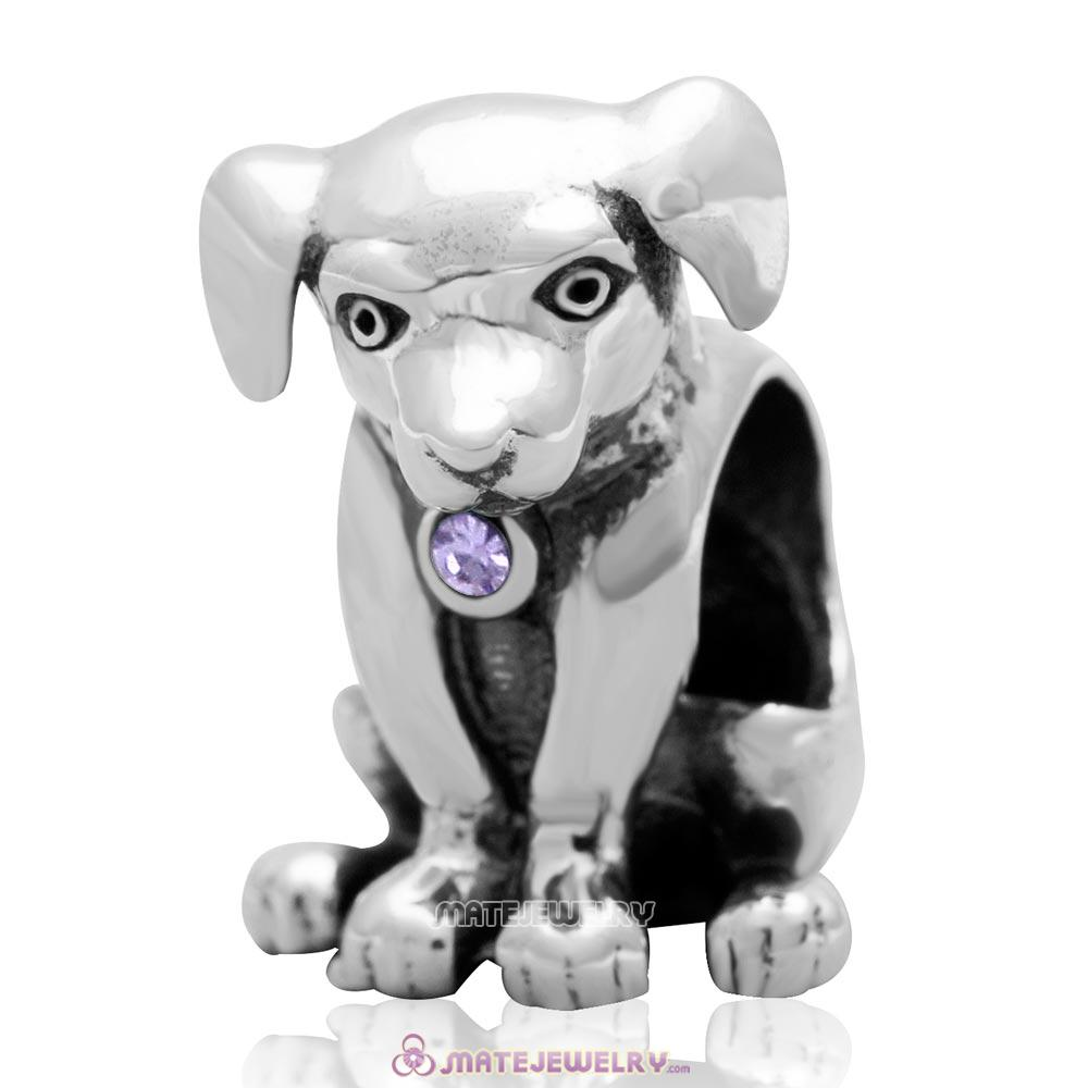 Dog Keep Home Charm 925 Sterling Silver Violet Australian Crystal Initial