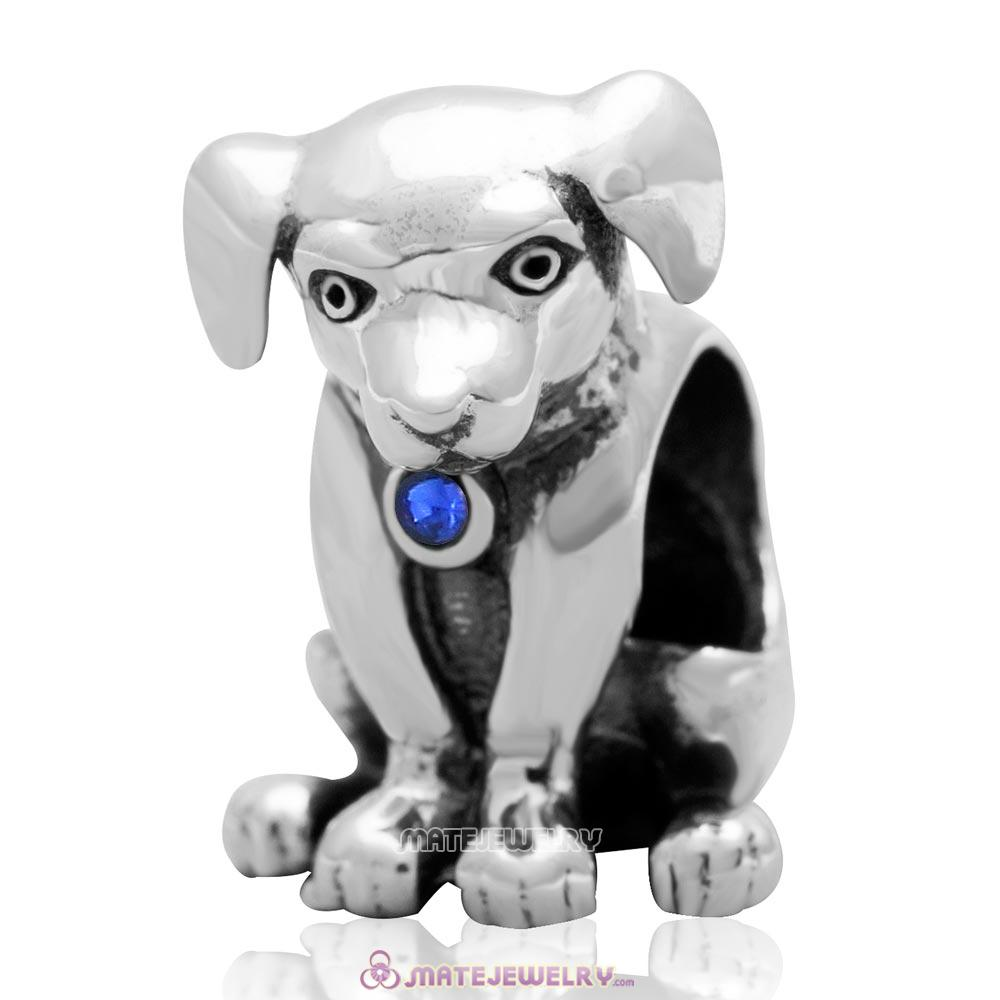 Dog Keep Home Charm 925 Sterling Silver Sapphire Australian Crystal Initial