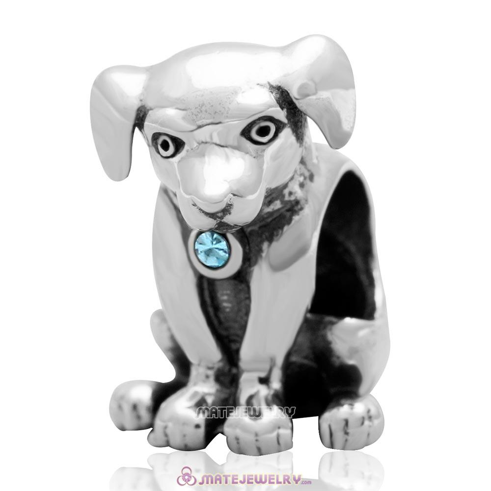 Dog Keep Home Charm 925 Sterling Silver Aquamarine Australian Crystal Initial