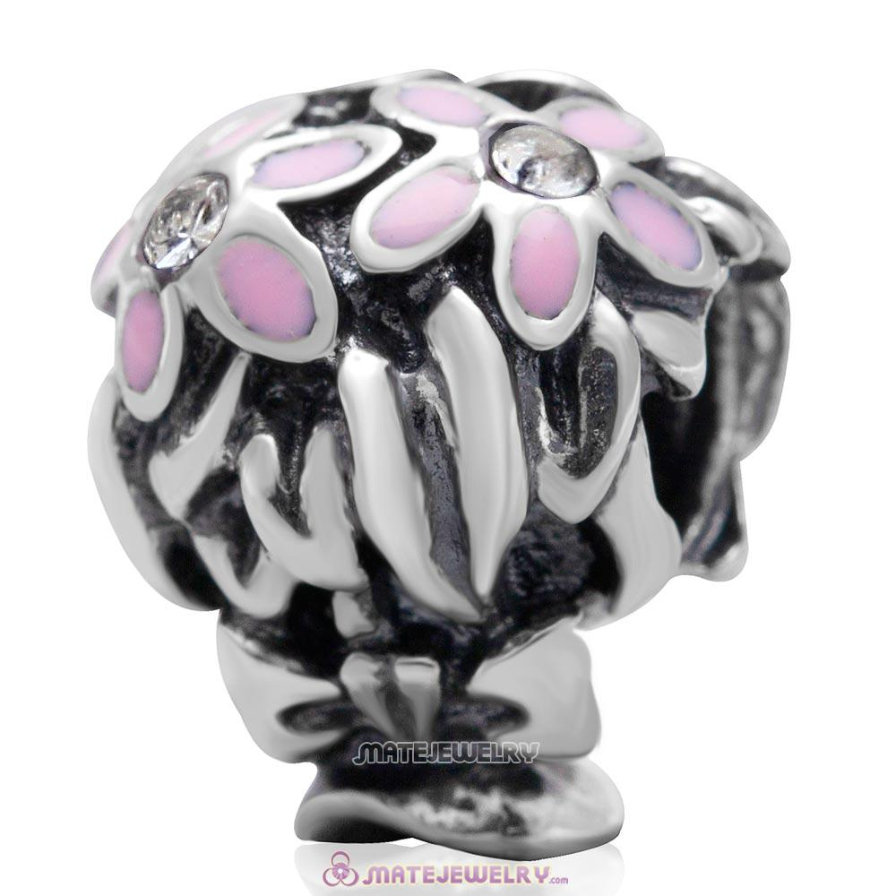 Pink Enamel Bouquet Charm 925 Sterling Silver with Clear Australian Crystal