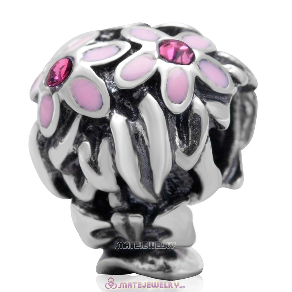 Pink Enamel Bouquet Charm 925 Sterling Silver with Rose Australian Crystal