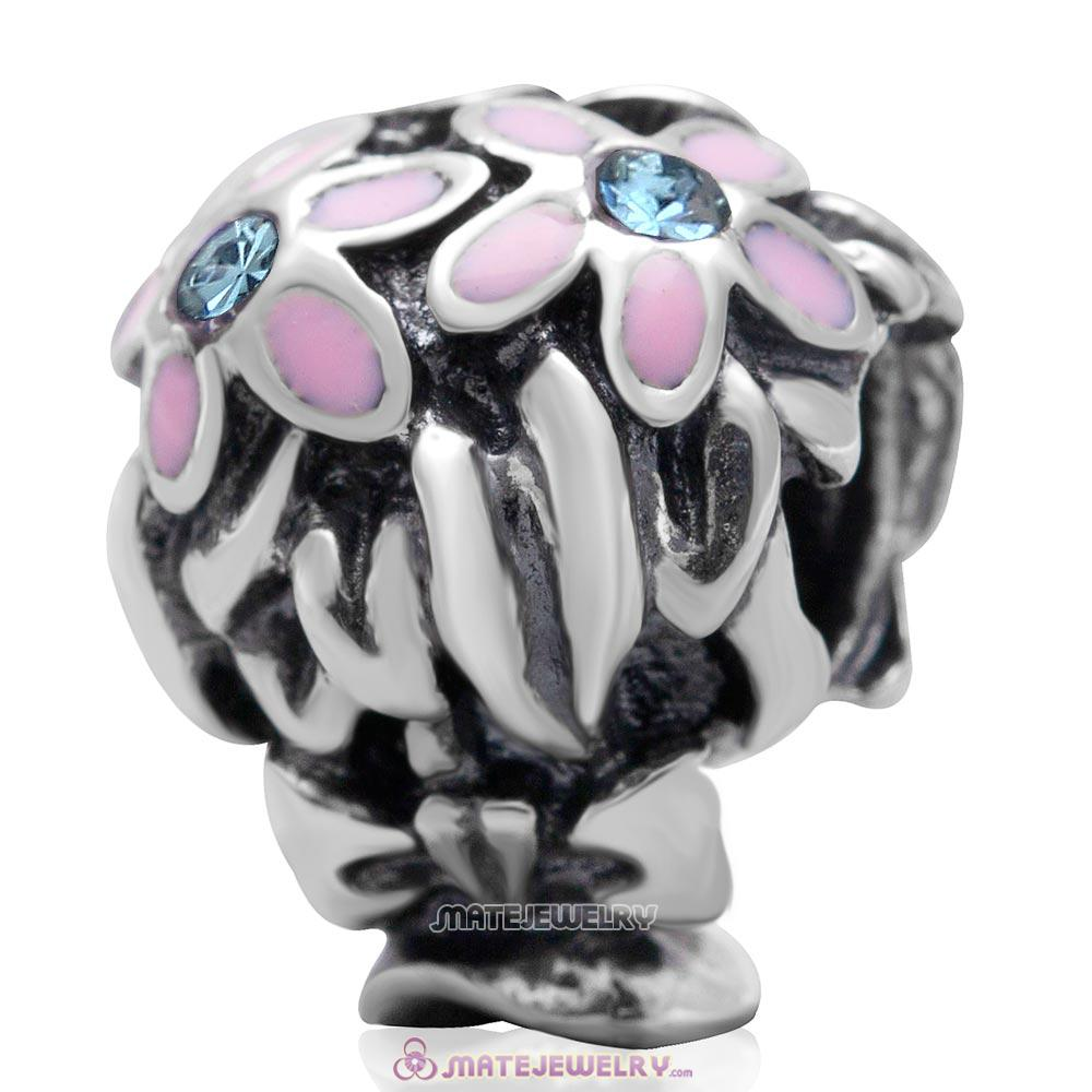 Pink Enamel Bouquet Charm 925 Sterling Silver with Aquamarine Australian Crystal