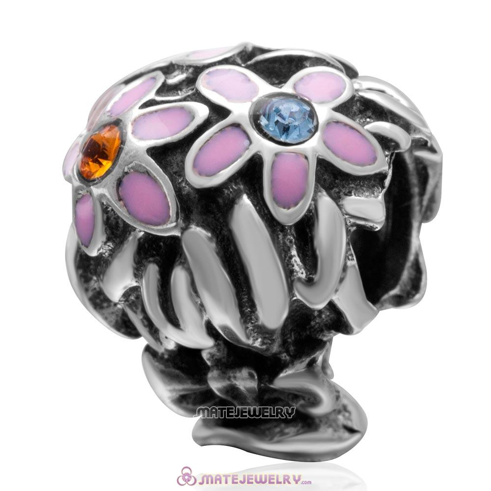 Pink Enamel Bouquet Charm 925 Sterling Silver with Colorful Australian Crystal