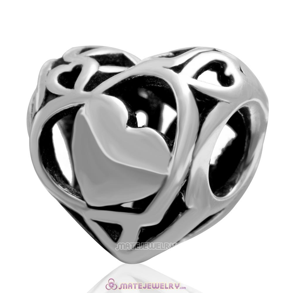 Openwork Heart Charm Antique Sterling Silver Bead