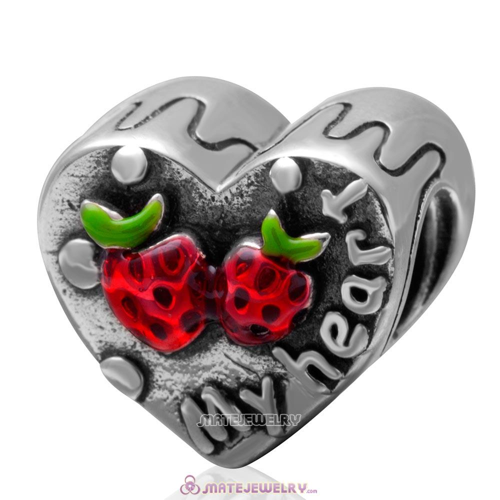 Antique Sterling Silver My Heart Charm Bead with Sweet Strawberry
