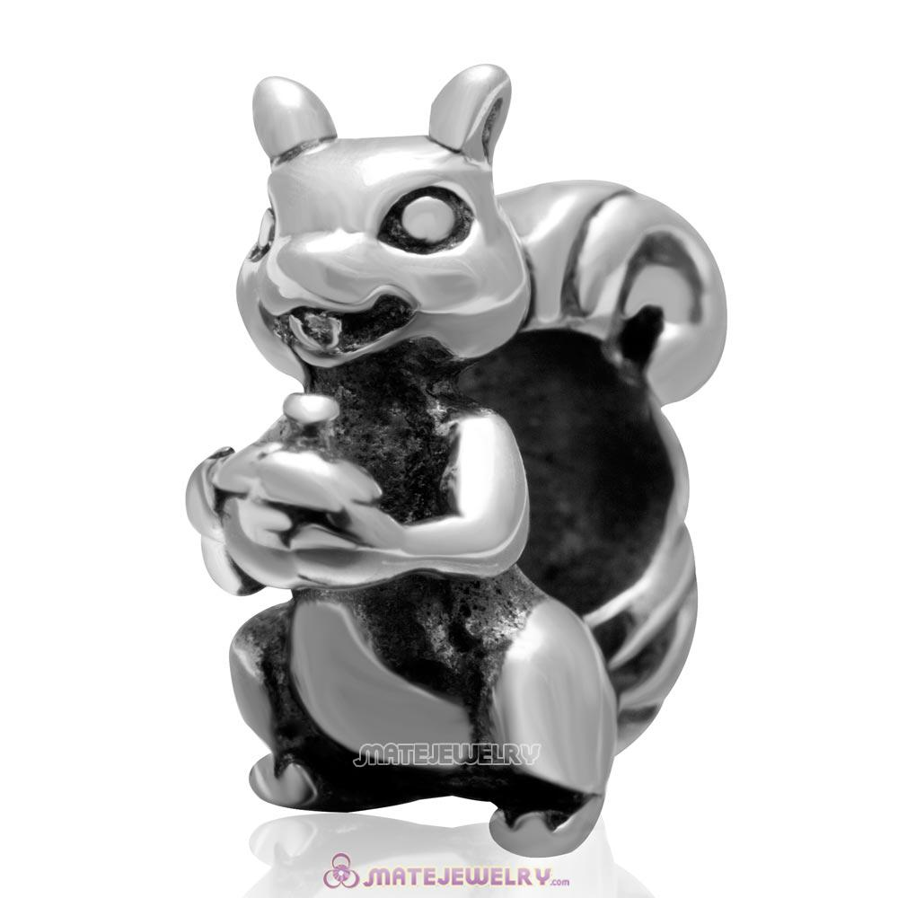 Vintage 925 Sterling Silver Squirrel Bead Big Hole