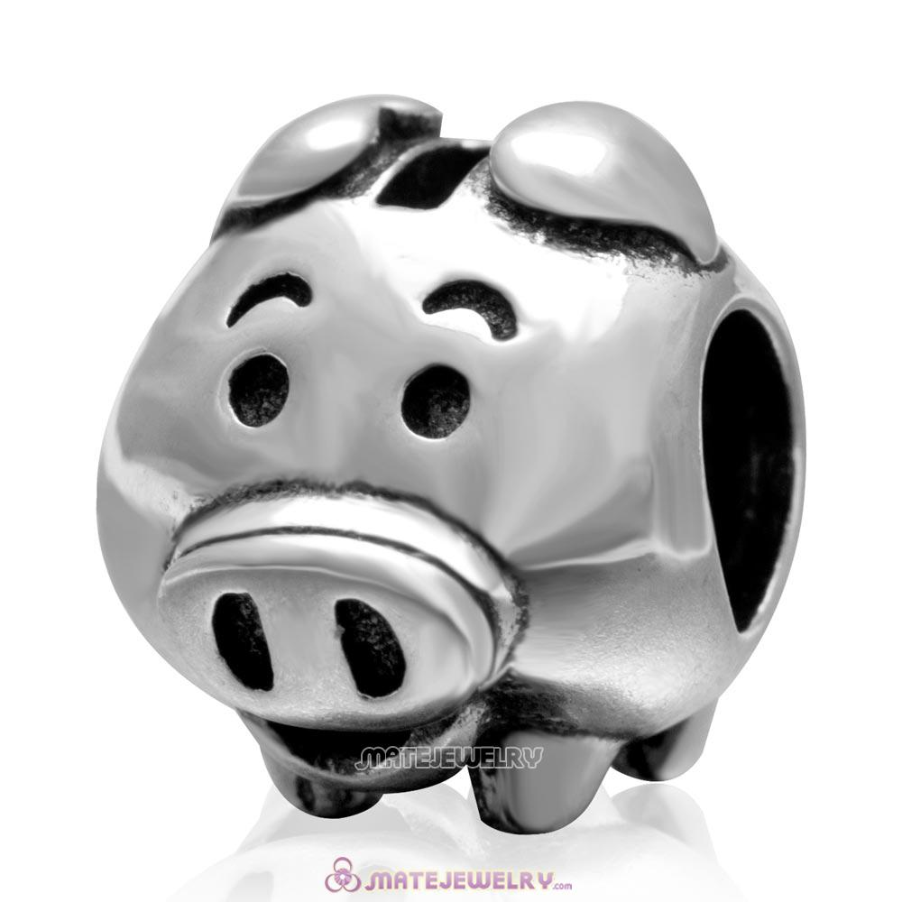 Vintage 925 Sterling Silver Piggy Bank Charm Bead