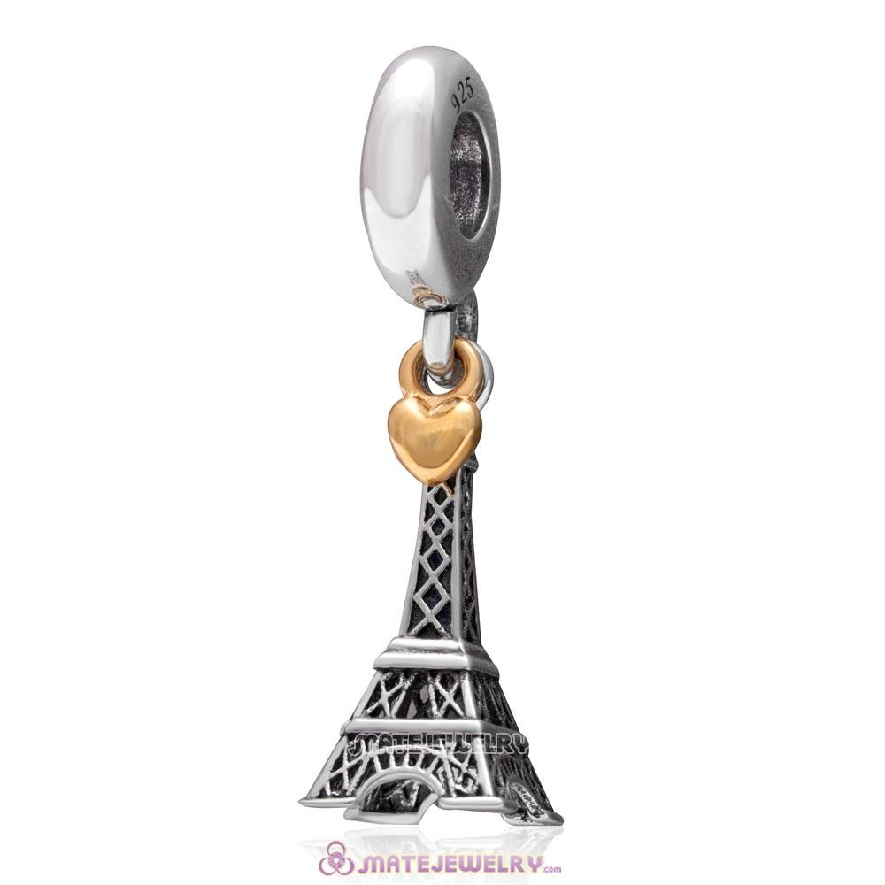 Golden Heart PARIS Eiffel Tower Dangle Charm Antique Sterling Silver