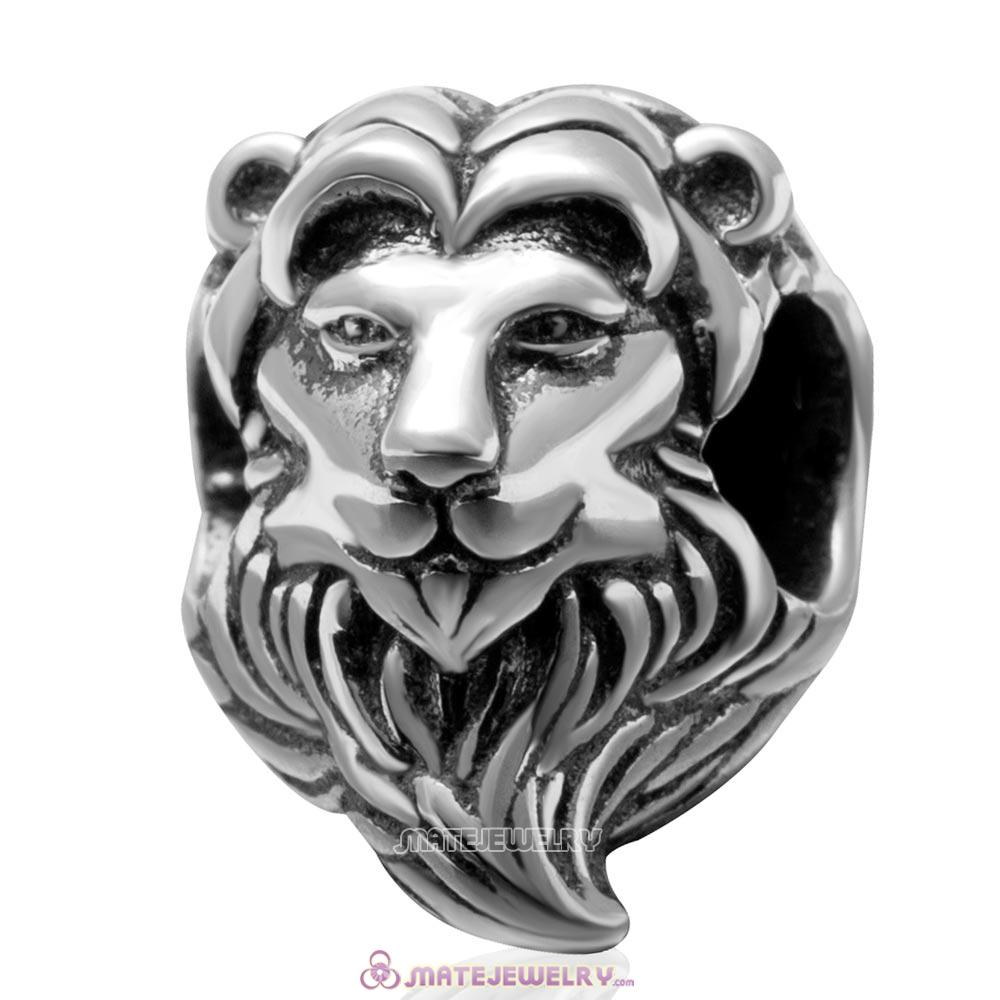 Vintage 925 Sterling Silver Lion Head Charm Bead