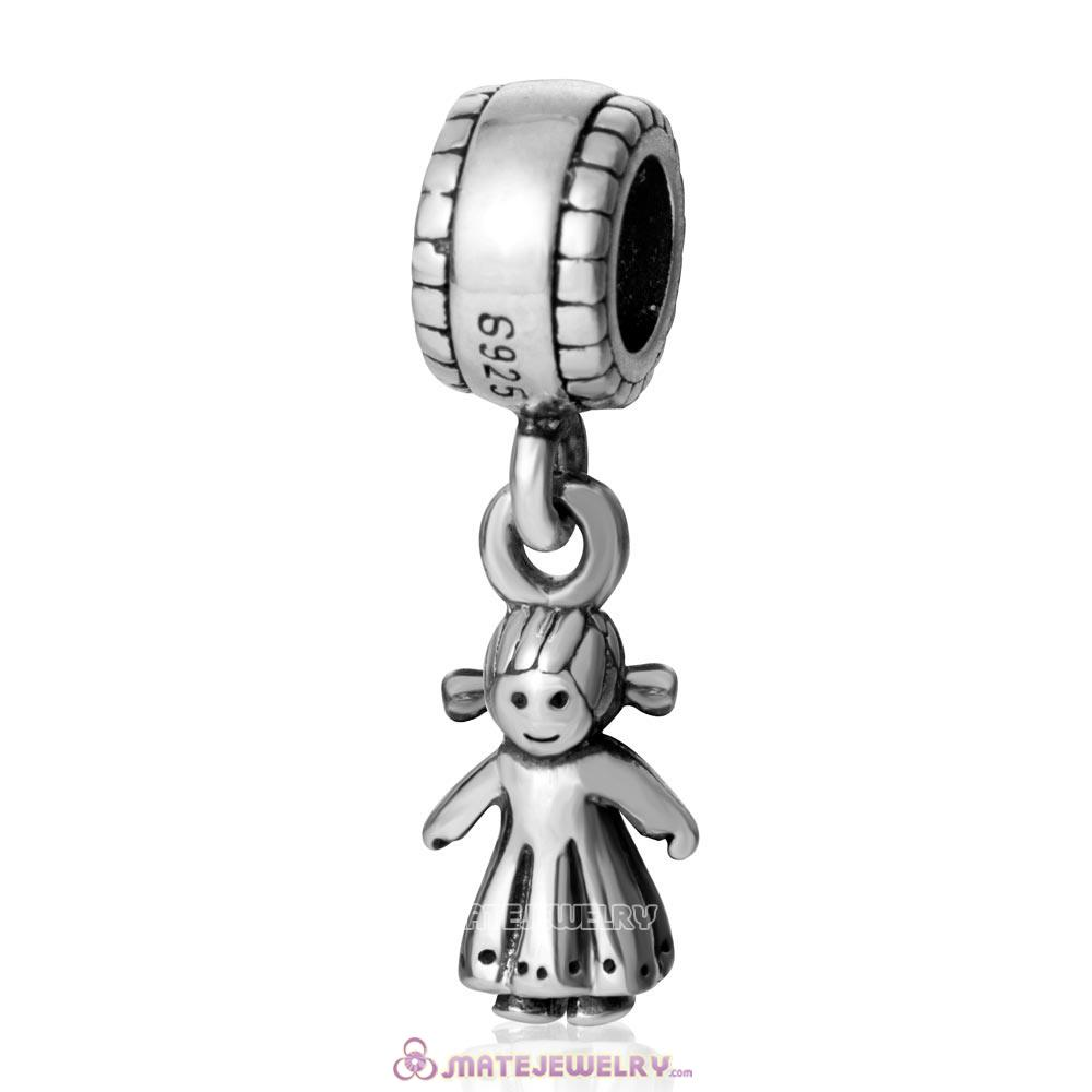 Little Girl European 925 Sterling Silver Handmade Dangling Bead
