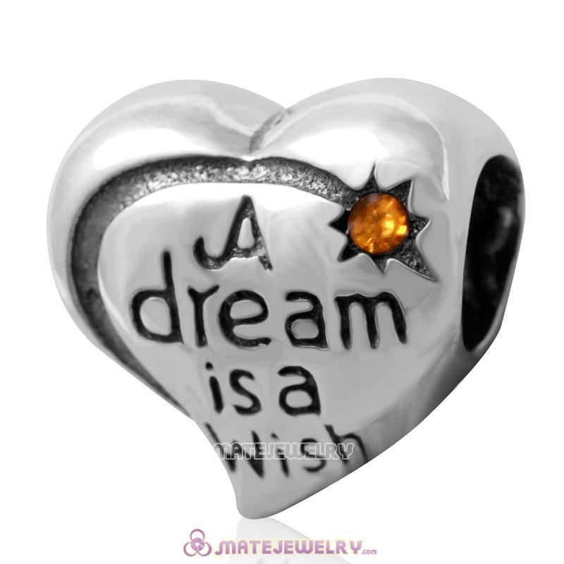 A dream is a wish your heart makes Bead 925 Silver with Topaz Crystal