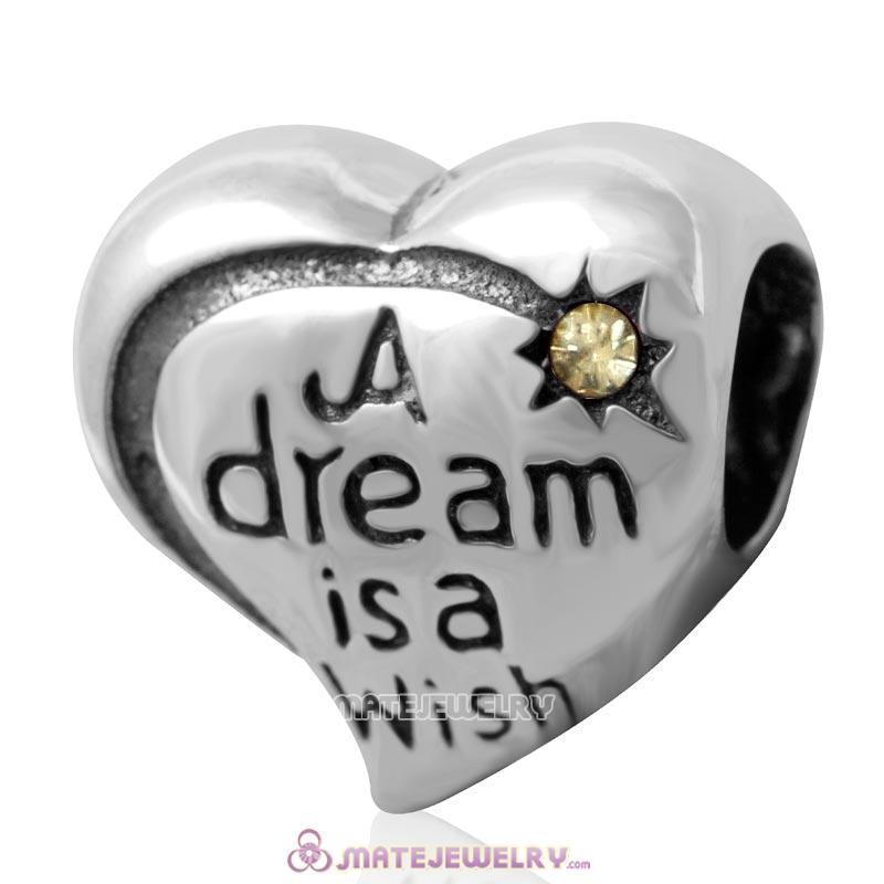 A dream is a wish your heart makes Bead 925 Silver with Jonquil Crystal