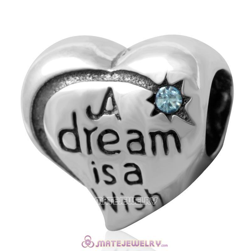 A dream is a wish your heart makes Bead 925 Silver with Aquamarine Crystal
