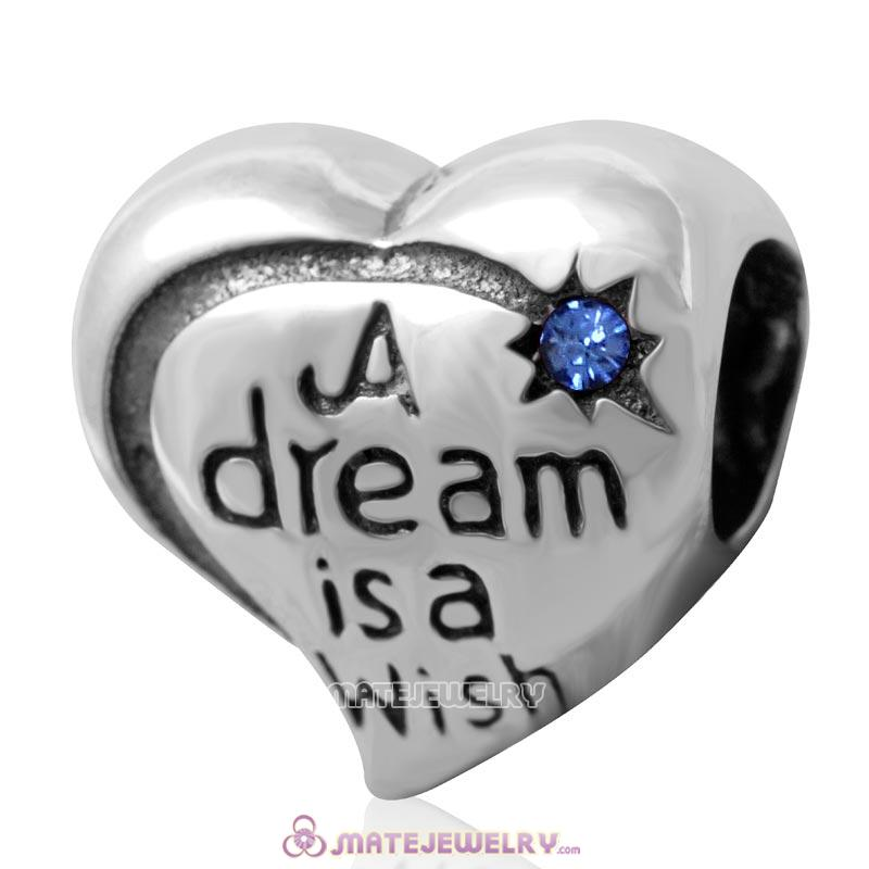 A dream is a wish your heart makes Bead 925 Silver with Sapphire Crystal