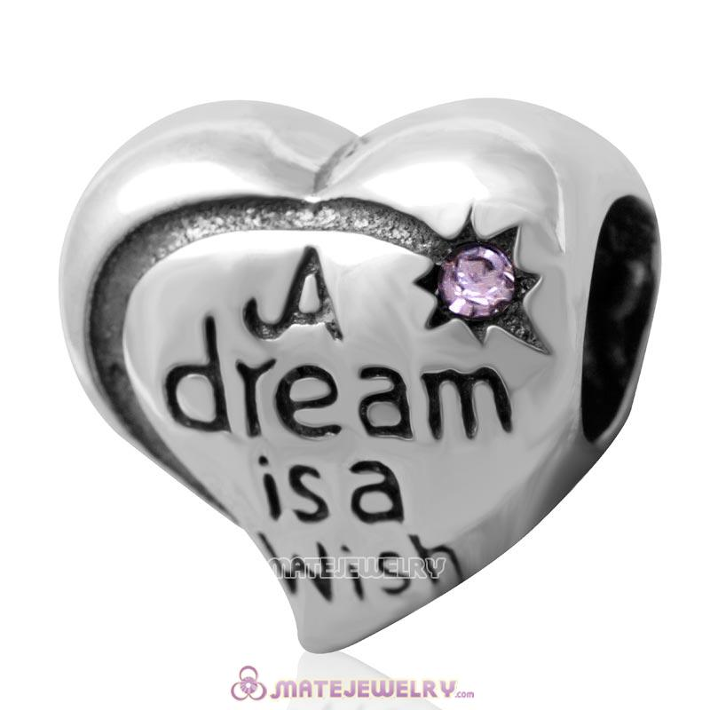 A dream is a wish your heart makes Bead 925 Silver with Violet Crystal