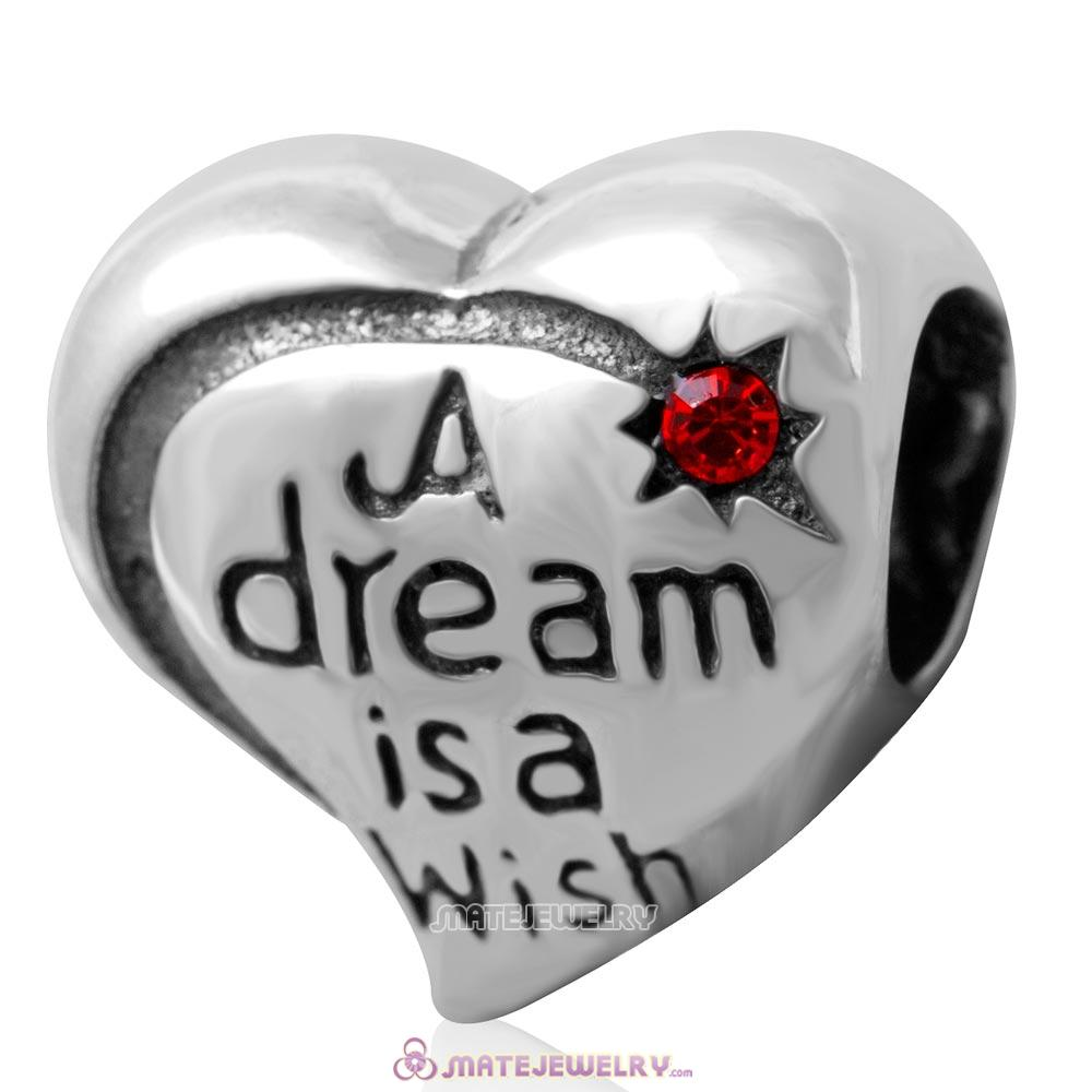 A dream is a wish your heart makes Bead 925 Silver with Hyacinth Crystal