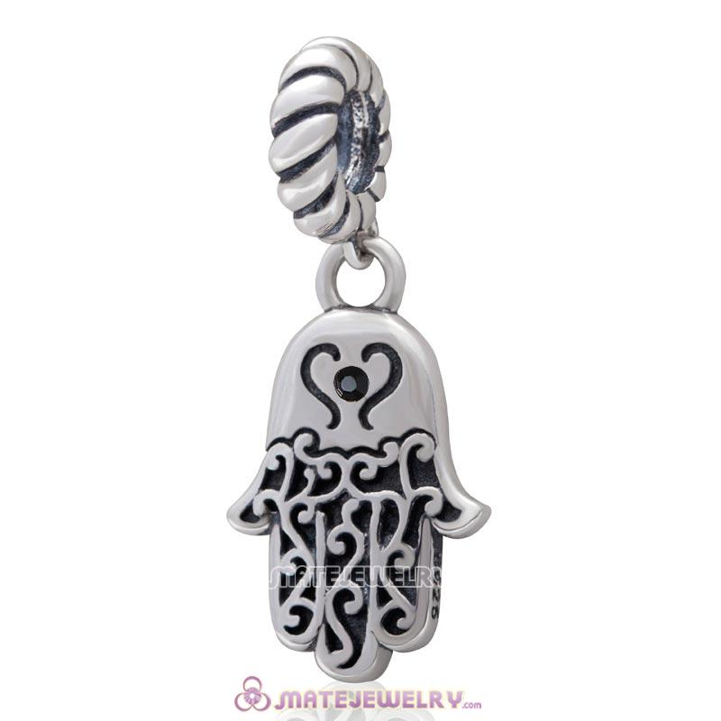 Religion Faith  Hamsa Hand Antique Silver Dangle Bead with Jet Crystal