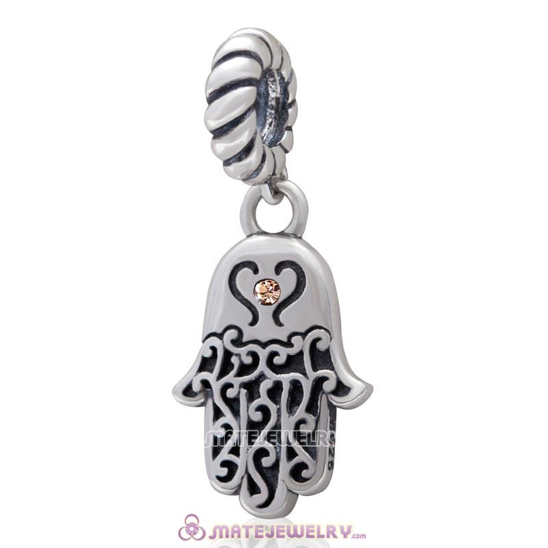 Religion Faith  Hamsa Hand Antique Silver Dangle Bead with Light Peach Crystal
