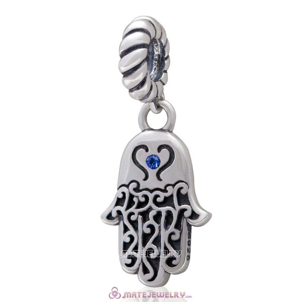 Religion Faith  Hamsa Hand Antique Silver Dangle Bead with Sapphire Crystal