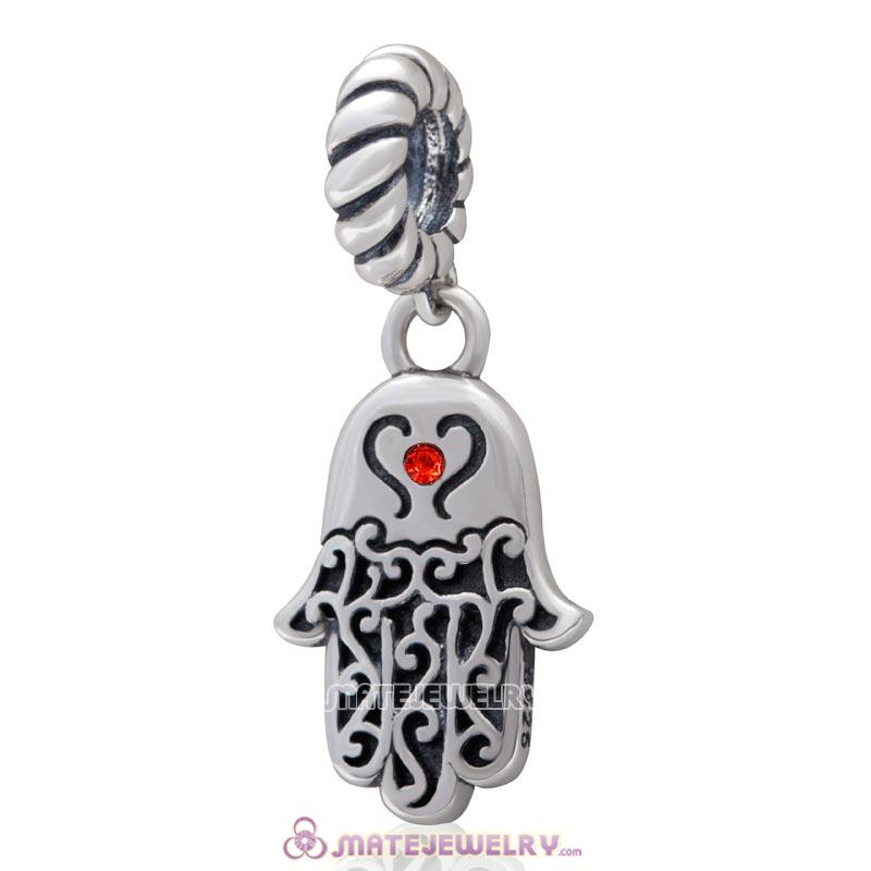 Religion Faith  Hamsa Hand Antique Silver Dangle Bead with Hyacinth Crystal