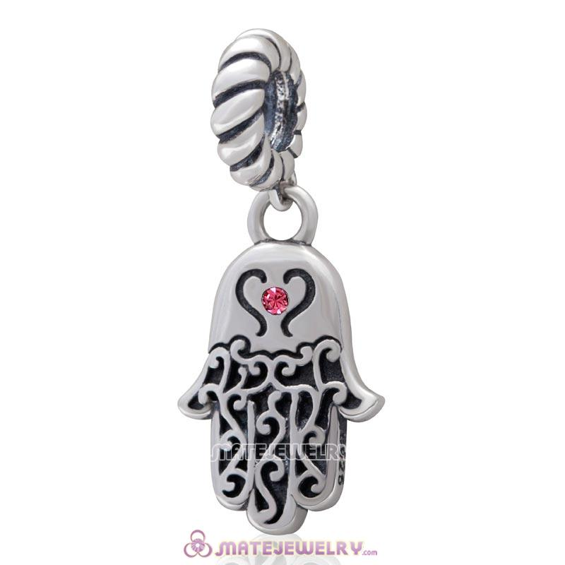 Religion Faith  Hamsa Hand Antique Silver Dangle Bead with Rose Crystal