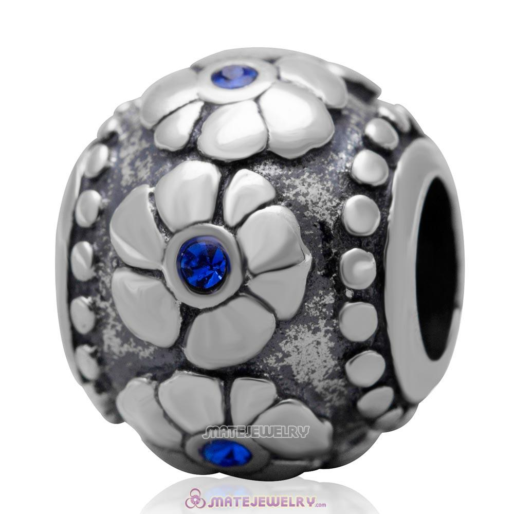 Antique Silver European Style Flower with Sapphire Australian Crystal Charm Bead